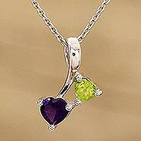Rhodium plated amethyst and peridot pendant necklace, 'Duo of Love' - Amethyst and Peridot Rhodium Plated Sterling Silver Pendant