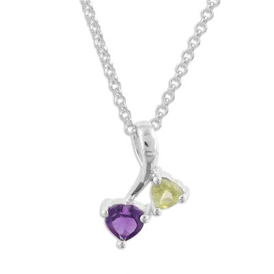 Amethyst and Peridot Rhodium Plated Sterling Silver Pendant