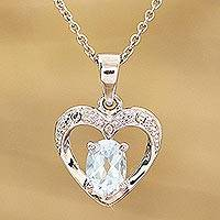 Rhodium plated blue topaz pendant necklace, 'This Heart of Mine' - Blue Topaz Rhodium Plated Sterling Silver Heart Pendant