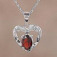 Rhodium plated garnet pendant necklace, 'This Heart of Mine' - Rhodium Plated Heart Pendant Necklace with Garnet