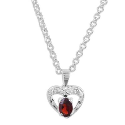 Rhodium Plated Heart Pendant Necklace with Garnet