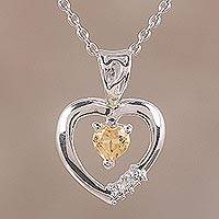 Citrine pendant necklace, 'Heart on Fire' - Citrine and Rhodium Plated Sterling Silver Heart Necklace