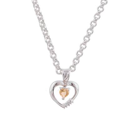 Citrine and Rhodium Plated Sterling Silver Heart Necklace