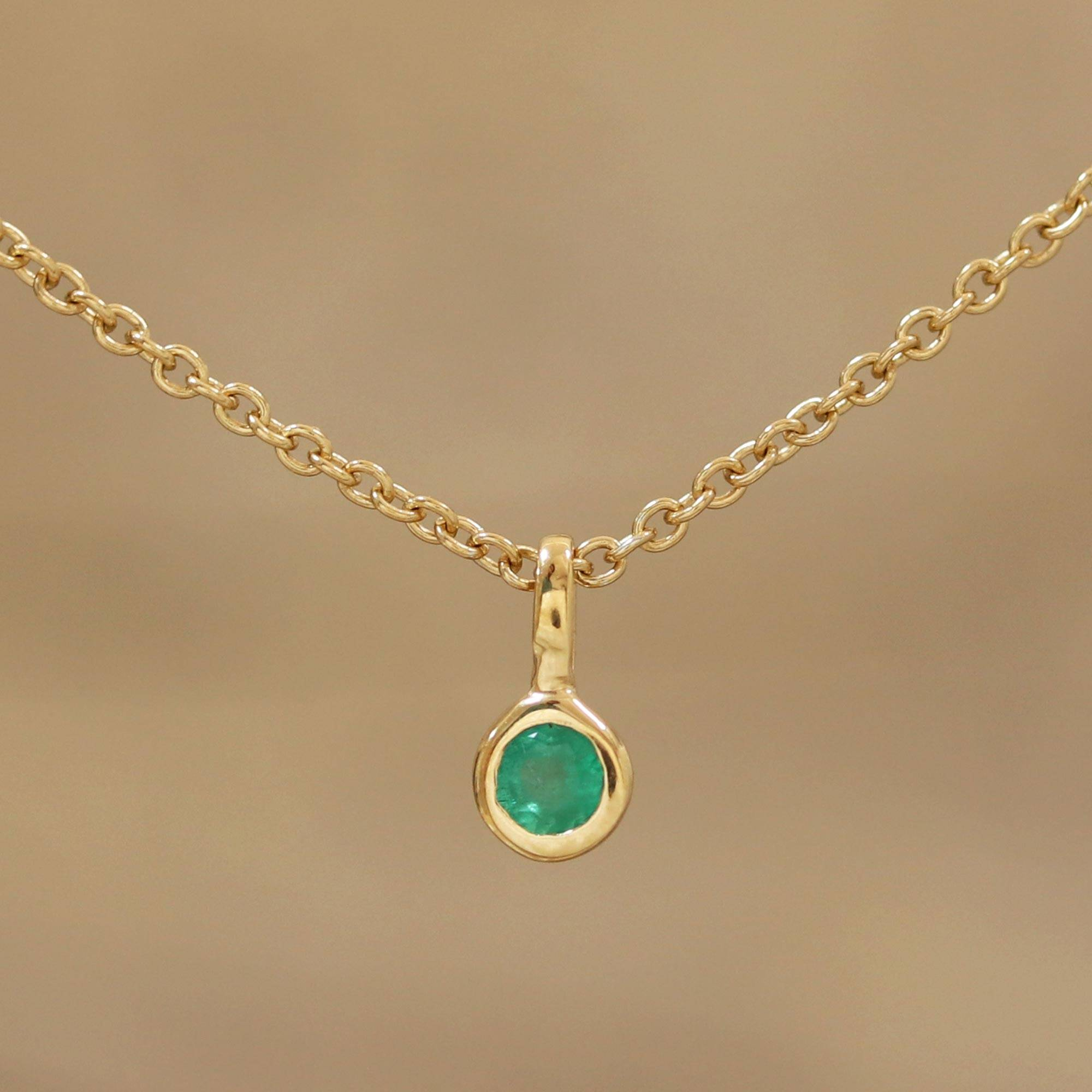 5a078d34b7301e Artisan Crafted Gold Plated Silver and Emerald Necklace,