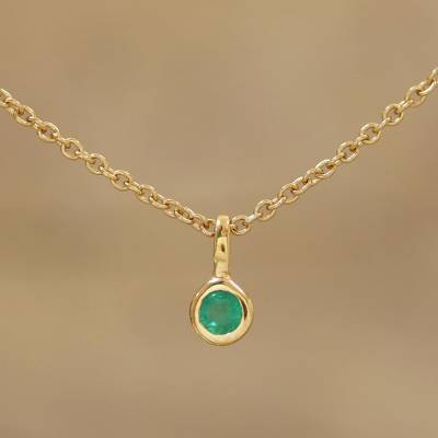 9e37cf081787a5 Gold plated emerald pendant necklace, 'Treasure of India' - Artisan Crafted Gold  Plated