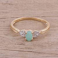 Featured review for Gold-plated emerald and white topaz cocktail ring, Gleaming Allure