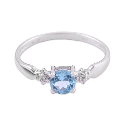 Rhodium Plated Ring with Blue and White Topaz Stones