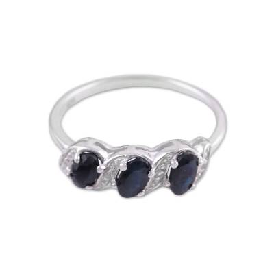 Sapphire and White Topaz Cocktail Ring Handmade in India