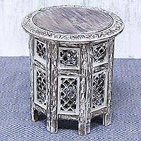 Wood accent table, 'Kashmir Jali' - Handmade Whitewashed Mango Wood Jali Accent Table from India