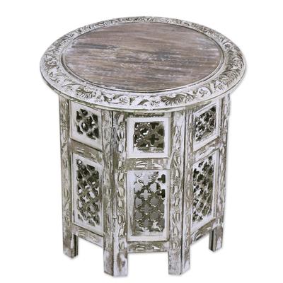 white washed mango wood. Wood Accent Table, \u0027Kashmir Jali\u0027 - Handmade Whitewashed Mango Jali Table White Washed