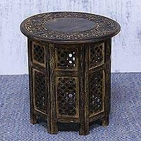 Wood accent table, 'Perennial Elegance' - Hand Crafted Wood Accent Table with Floral and Jali Motifs
