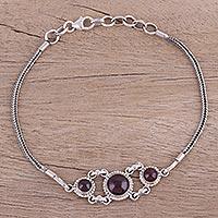 Garnet pendant bracelet, 'Bridge to Delhi' - Garnet Cabochon Pendant Bracelet in Sterling Silver