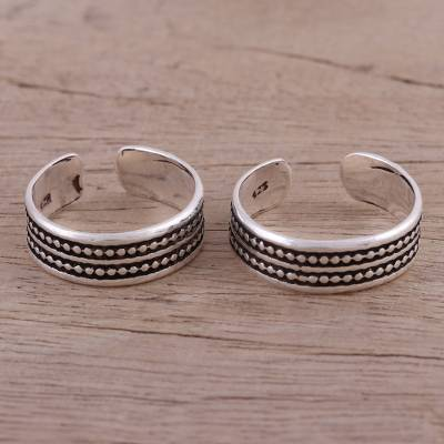 Sterling silver toe rings, 'Dotted Daydream' (pair) - Pair of Sterling Silver Adjustable Toe Rings