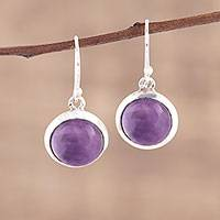 Amethyst dangle earrings, 'Celestial Promise' - Amethyst and Sterling Silver Dangle Earrings from India