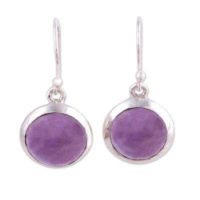 Amethyst dangle earrings, 'Celestial Promise' - Amethyst and Sterling Silver Dangle Earrings from India