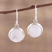 Rainbow moonstone dangle earrings, 'Celestial Promise' - Rainbow Moonstone and Sterling Silver Dangle Earrings