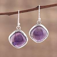 Amethyst dangle earrings, 'Lavender Kite' - Amethyst and Sterling Silver Dangle Earrings from India