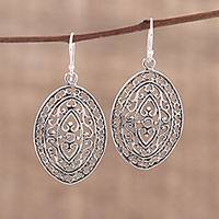 Sterling silver dangle earrings, 'Jali Allure' - Sterling Silver Dangle Earrings with Jali Motif from India