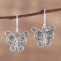 Sterling silver dangle earrings, 'Butterfly Spiral' - Butterfly Themed Sterling Silver Dangle Earrings