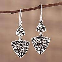 Sterling silver dangle earrings, 'Jali Curls' - Artisan Crafted Sterling Silver Dangle Earrings