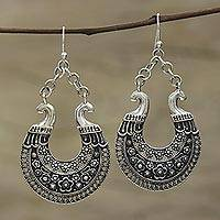 Sterling silver dangle earrings, 'Floral Jali Beauty' - Hand Crafted Indian Jali Sterling Silver Dangle Earrings