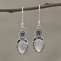 Rainbow moonstone dangle earrings, 'Earthly Crown' - Rainbow Moonstone Cabochon and Sterling Silver Earrings