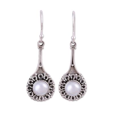 Cultured pearl dangle earrings, 'Inner Radiance' - Cultured Pearl Earrings in Sterling Silver Settings