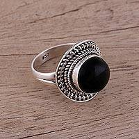 Onyx cocktail ring, 'Mystical Delight' - Handcrafted Sterling Silver and Onyx Cocktail Ring