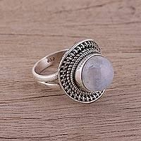 Rainbow moonstone cocktail ring, 'Mystical Delight' - Sterling Silver and Rainbow Moonstone Cocktail Ring