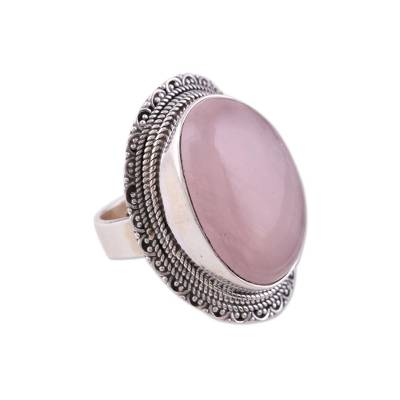 Rose quartz cocktail ring, 'Too Marvelous' - Silver and Rose Quartz Cocktail Ring from India