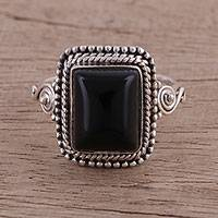 Onyx cocktail ring, 'Block Party'