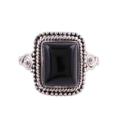 Onyx cocktail ring, 'Block Party' - Bezel Set Onyx and Sterling Silver Cocktail Ring