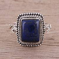 Lapis lazuli cocktail ring, 'Block Party' - Artisan Crafted Lapis Lazuli Cocktail Ring from India