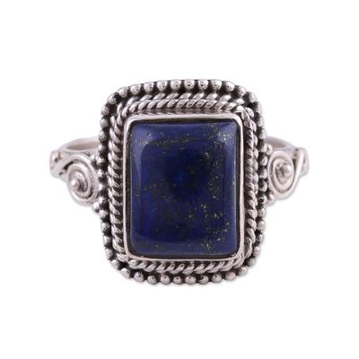 Lapis lazuli cocktail ring, 'Block Party' - Artisan Crafted Lapis Lazuli Cocktail Ring from India
