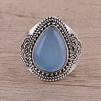 Chalcedony cocktail ring, 'Charismatic Blue Charm'