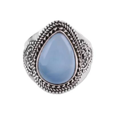 Chalcedony cocktail ring, 'Charismatic Blue Charm' - Sterling Silver Blue Chalcedony Cocktail Ring
