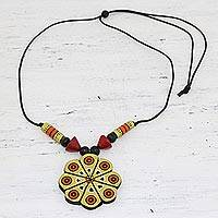 Ceramic pendant necklace, 'Golden Floral Abstraction' - Hand Crafted Ceramic Pendant Necklace from India