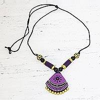 Ceramic pendant necklace, 'Lavender Harmony' - Hand Crafted Ceramic Pendant Necklace from India