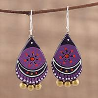 Ceramic dangle earrings, 'Lavender Harmony' - Hand Crafted Ceramic Dangle Earrings from India