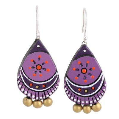 Hand Crafted Ceramic Dangle Earrings from India