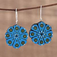 Ceramic dangle earrings, 'Blue Floral Abstraction' - Hand Crafted Ceramic Dangle Earrings from India