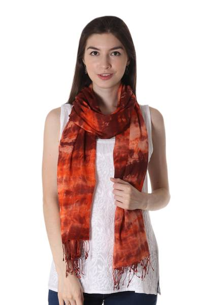 Tie-dyed cotton shawl, 'Fusion' - 100% Cotton Shibori Dyed Orange and Umber Light-Weight Shawl