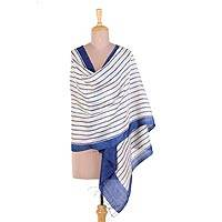 Silk shawl, 'Indigo India' - Handwoven Indigo and Ivory Striped Indian Silk Shawl