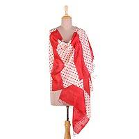Silk shawl, 'Speckled Beauty' - Handwoven Red and Ivory Polka Dot Silk Shawl from India