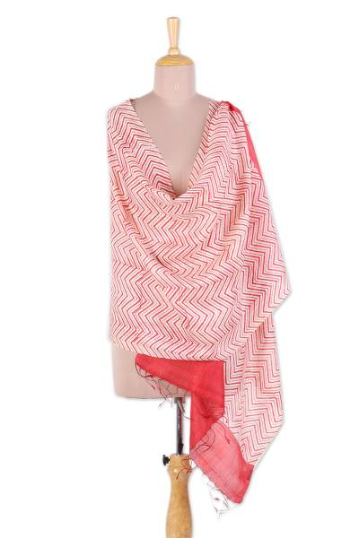 Silk shawl, 'Bengali Bold' - Handwoven Red and Ivory Patterned Silk Shawl from India