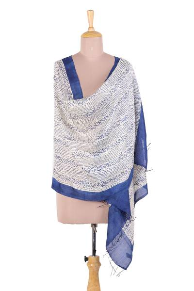 61da810a4 Silk shawl, 'Forest of Bengal' - Handwoven Indigo and Ivory Patterned Indian  Silk