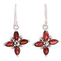 Rhodium plated garnet dangle earrings, 'Twinkling Scarlet' - Garnet Earrings Set in Rhodium Plated Sterling Silver