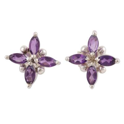 Rhodium plated amethyst button earrings, 'Gentian Blossom' - Floral Motif Amethyst Button Earrings from India