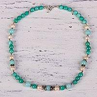 Multi-gemstone beaded necklace, 'Ocean Shimmer' - Multi-Gemstone Beaded Necklace from India