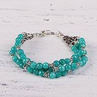 Aventurine beaded bracelet, 'Elegant Trinity in Aqua' - Hand Crafted Aqua Aventurine Beaded Bracelet from India